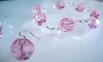 pink octagonal swarovski bracelet and earrings 2