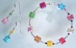 multicolored cubecut swarovski bracelet with silver chain