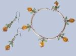 orange and green twistcut swarovski bracelet with gold bars